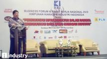 Menteri Perindustrian Airlangga Hartarto saat menyampaikansambutan di Rakernas ke XVIII HKI (Hariyanto/ INDUSTRY.co.id)