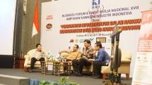Menteri Perindustrian, Airlangga Hartarto saat menghadiri acara Rakernas ke XVIII HKI yang digelar di Hotel JW Marriot, Surabaya