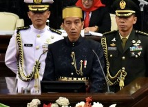 Presiden Jokowi menyampaikan pidato pada Sidang Tahun MPR RI Tahun 2017, di Gedung MPR/DPR/DPD, Jakarta (16/8). (Foto: Rahmat/Humas)