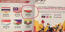 Bendera Indonesia terbalik dalam buku panduan SEA Games Malaysia