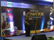 Menteri Perindustrian, Airlangga Hartarto saat acara Workshop E-smart IKM