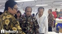 Menteri Perindustrian Airlangga Hartarto melakukan kunjungan kerja di PT Delami Garment Industries