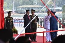 Presiden Jokowi pada perayaan HUT ke-72 TNI, Kamis (5/10). (foto: Humas/Jay)