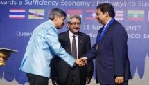 Menteri Perindustrian Airlangga Hartarto menerima penganugerahan AFEO Distinguished Honorary Fellow yang diserahkan oleh Chairman Asean Federation Engineering Organization (AFEO) di Bangkok, Thailand, Sabtu (18/11).