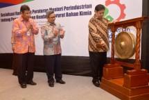 Menteri Perindustrian Airlangga Hartarto didampingi Dirjen Industri Kimia Tekstil dan Aneka (IKTA) Achmad Sigit Dwiwahjono serta Direktur Industri Kimia Hulu Muhammad Khayam