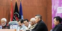 Rosihan KN (Forwan), Rahayu K (Nagaswara), Harry Koko (Deteksi), Roemy Azis (JSMI), Seo M Hardjo (Target Pro) dan Agy Sugianto (Pro Aktif) berdisksui dalam semiloka Forwan