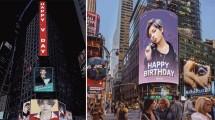Ucapan Ulang Tahun Untuk V BTS di Times Square, New York City (Foto: Allkpop)