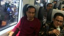 Presiden Jokowi saat peresmian Kereta Api Bandara Soetta (ist)