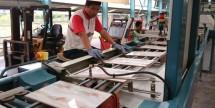 Pekerja di pabrik keramik (Ist)
