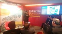 Menteri Perindustrian Airlangga Hartarto saat memberikan pemaparan tentang kesiapan Indonesia menghadapi Industri 4.0 pada sesi Morning Coffee di Pavilion Indonesia (Foto: Kemenperin)