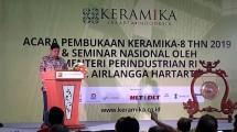 Menteri Perindustrian Airlangga Hartarto saat membuka pameran Keramika 2019 (Foto: Ridwan/Industry.co.id)