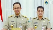 Gubernur DKI Jakarta Anies Baswedan bersama wakil Gubernur DKI Jakarta Ahmad Riza Patria