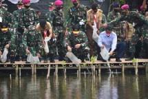 Dankormar Suhartono dan KASAL Yudo Panen Raya Tingkatkan Ketahanan Pangan
