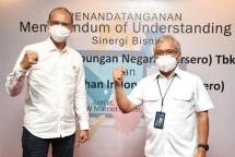 Penandatanganan Memorandum Of Understanding (MOU) atau perjanjian kerjasama dengan Pelindo III, di Surabaya, Jumat (5/3/2021)