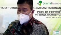 Direktur PT Buana Finance Tbk (BBLD), Herman Lesmana, ketika memberikan informasi mengenai kinerja perseroan dalam acara paparan publik secara virtual usai RUPST di Jakarta, Jumat (18/06/2021). (Foto: Bang Abe)