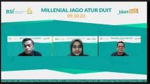 """CFO Fineaja, Zahra Nabila Kurnia (dua dari kiri); dan Kepala Divisi Pasar Modal Syariah BEI, Irwan Abdalloh (paling kanan) dalam webinar LIKES Talk dengan tema """"Millenial Jago Atur Duit"""""""